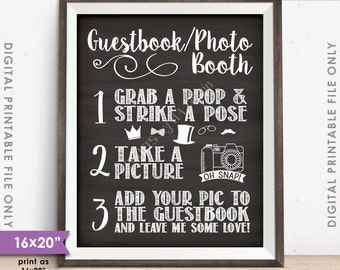 "Guestbook Photo Booth Sign, Photo Guestbook, Add photo to my guestbook, Chalkboard Style 8x10/16x20"" Instant Download Digital Printable File"