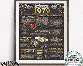 "1979 Flashback Poster, Flashback to 1979 USA History Back in 1979 Birthday Anniversary Reunion, PRINTABLE 16x20"" Sign <ID>"