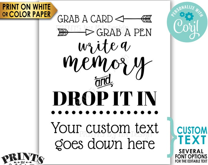 "Custom Memory Sign, Grab a Card Grab a Pen Write a Memory and Drop it In, B&W PRINTABLE 8x10/16x20"" Sign <Edit Yourself with Corjl>"