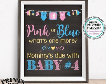 """Baby Number 4 Pregnancy Announcement, Pink or Blue What's One More, Baby #4 Child, Chalkboard Style PRINTABLE 8x10/16x20"""" Reveal Sign <ID>"""