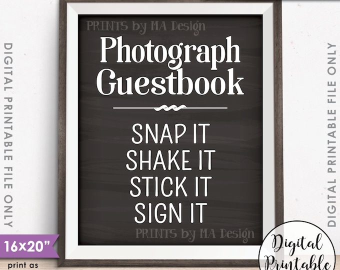 "Photograph Guestbook Sign, Photo Guestbook Photo Sign Wedding Birthday Graduation, Chalkboard Style PRINTABLE 8x10/16x20"" Instant Download"