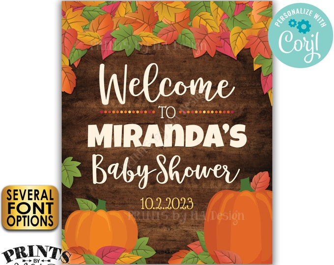 """Fall Themed Baby Shower Sign, Fall in Love with Baby, Welcome Poster, PRINTABLE 16x20"""" Rustic Wood Style Sign <Edit Yourself with Corjl>"""