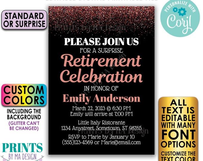 "Editable Retirement Celebration Invite, Rose Gold Glitter, Custom PRINTABLE 5x7"" Retirement Party Invitation <Edit Yourself with Corjl>"