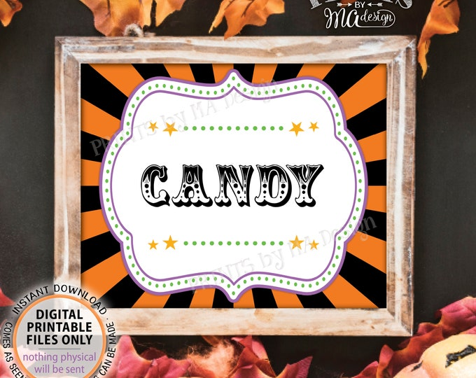 "Carnival Halloween Candy Sign, Halloween Treats, Carnival Treats, Candy Bar Sign, Candy Station Sign, PRINTABLE 8x10/16x20"" Candy Sign <ID>"
