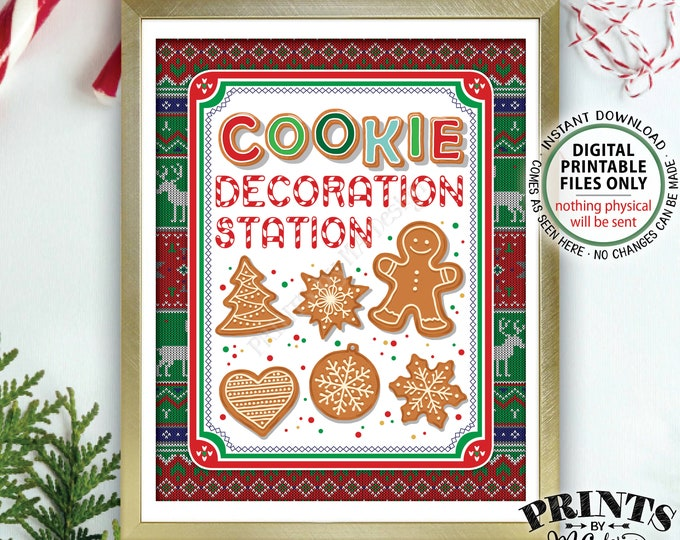 "Cookie Decoration Station Sign, Ugly Sweater Party Christmas Cookies Sign, Tacky Sweater Holiday Party, PRINTABLE 8x10"" Cookie Sign <ID>"