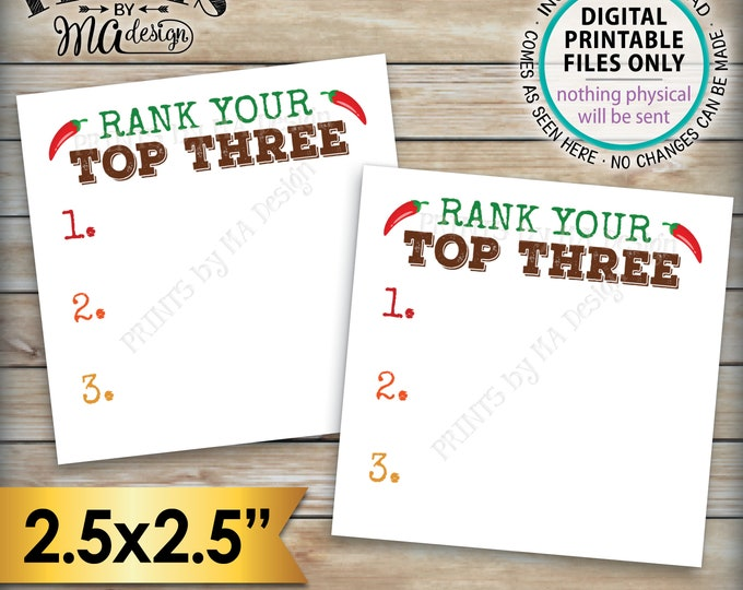 """Chili Cook-Off Voting Ballots, 2.5"""" Square Cards on a Digital PRINTABLE 8.5x11"""" File <ID>"""