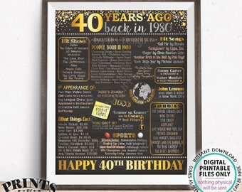 "40th Birthday Poster Board, Back in 1980 Flashback 40 Years Ago, Born in 1980 Bday Decor, PRINTABLE 16x20"" Sign <ID>"