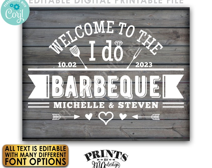 "Editable Wedding BBQ Sign, Backyard Barbecue Welcome, PRINTABLE 8x10/16x20"" Gray Rustic Wood Style Sign <Edit Yourself w/Corjl>"