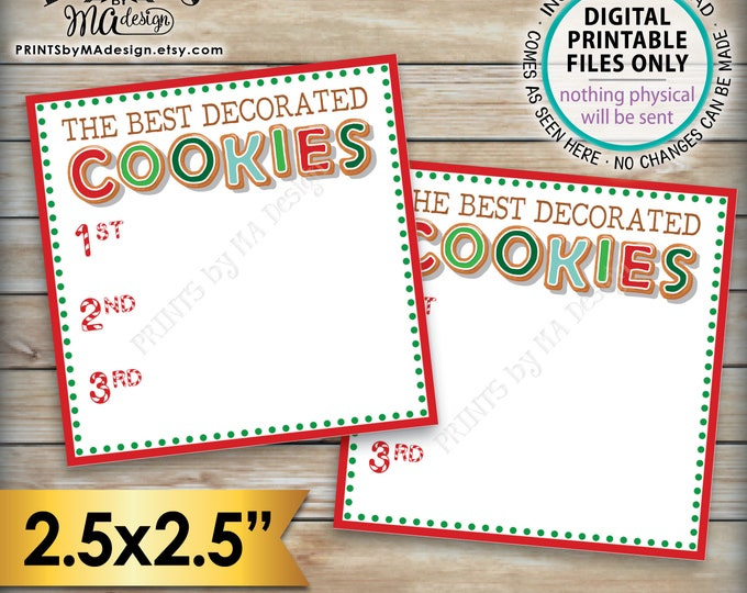 "Vote for the Best Decorated Cookie, Christmas Cookies Baking Party, Holiday Cookie Voting Station, PRINTABLE Cookie Voting 2.5"" Ballots <ID>"