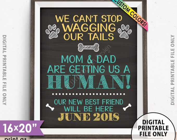 """Dogs Pregnancy Announcement, Mom & Dad are getting Us a Human, Mom is Pregnant Announcement, Chalkboard Style PRINTABLE 8x10/16x20"""" (w/year)"""