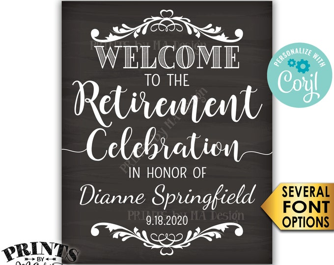 "Retirement Party Sign, Welcome to the Retirement Celebration, PRINTABLE Chalkboard Style 8x10/16x20"" Sign <Edit Yourself with Corjl>"