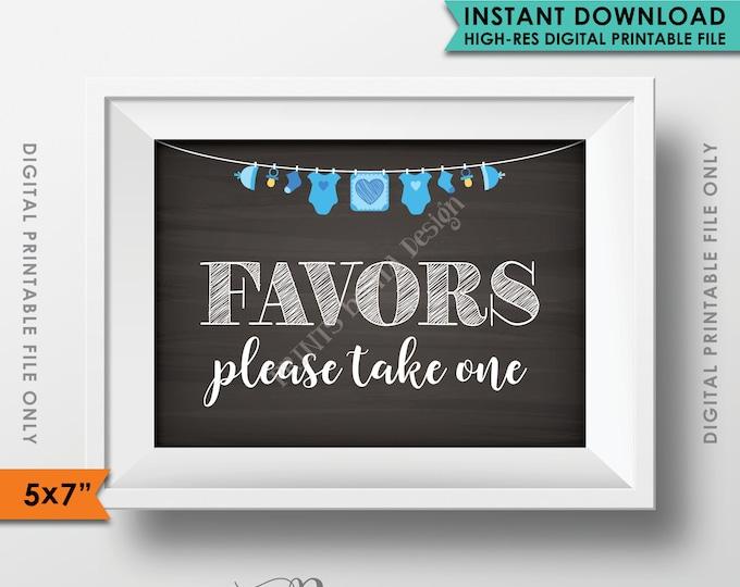 "Favors Sign, Baby Shower Favors, Take a Favor Shower Decor, Thank You Shower Sign, It's a BOY, Blue 5x7"" Instant Download Digital Printable"
