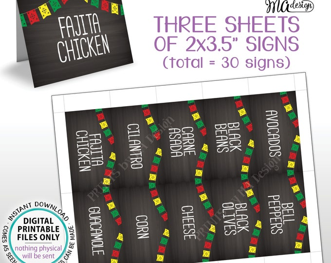 """Taco Bar Labels with Flags, Fiesta Mini Menu Taco Menu Signs, PRINTABLE 8.5x11"""" Sheets of Thirty 2""""x3.5"""" Chalkboard Style Labels <ID>"""