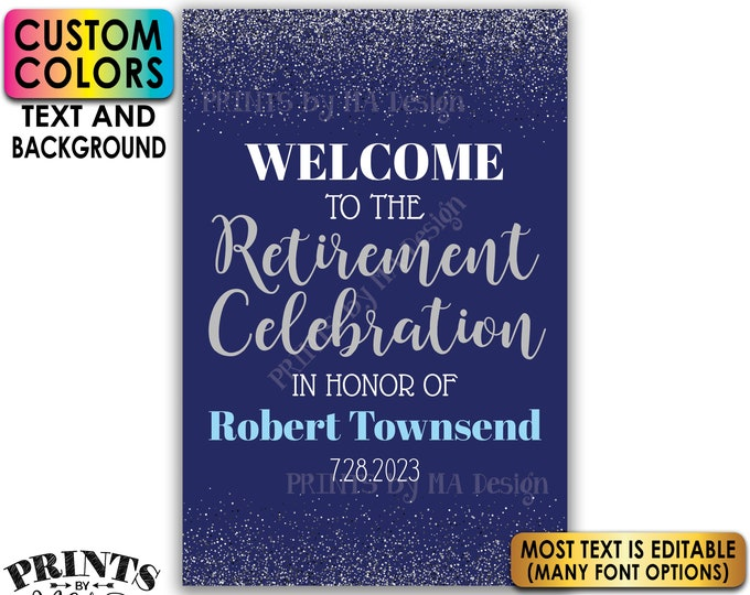 """Retirement Party Sign, Welcome to the Retirement Celebration, Silver Glitter, Custom PRINTABLE 24x36"""" Sign <Edit Yourself with Corjl>"""