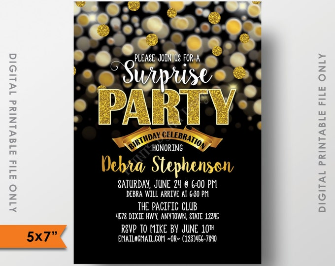 "Surprise Birthday Party Invitation, Black and Gold Bokeh, Gold Glitter Surprise Birthday Party, Surprise Party, 5x7"" Digital Printable file"
