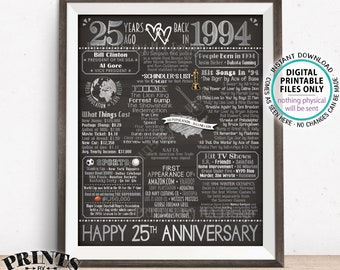 """25th Anniversary Married in 1994 Flashback to 1994 Poster, USA Back in 1994 Sign, Silver, PRINTABLE 16x20"""" 1994 Sign <ID>"""