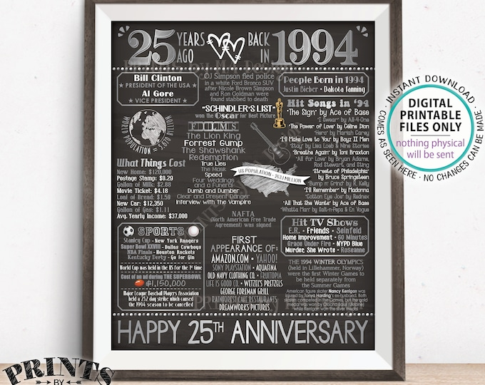 "25th Anniversary Married in 1994 Flashback to 1994 Poster, USA Back in 1994 Sign, Silver, PRINTABLE 16x20"" 1994 Sign <ID>"