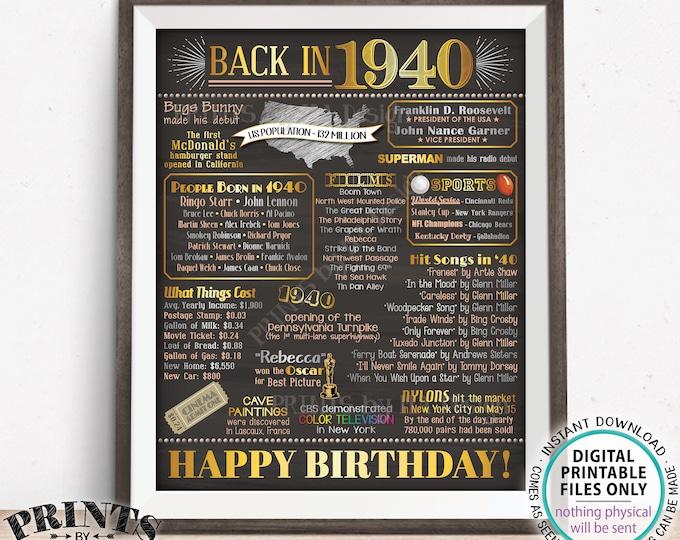 "Back in 1940 Birthday Poster Board, Flashback to 1940 Birthday Decoration, '40 B-day Gift, PRINTABLE 16x20"" Sign, Birthday Decor <ID>"