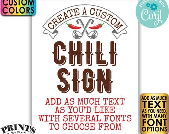 "Editable Chili Sign, Custom Chili Cook-Off Display, One PRINTABLE 8x10/16x20"" Portrait Sign, Custom Text & Colors <Edit Yourself w/Corjl>"