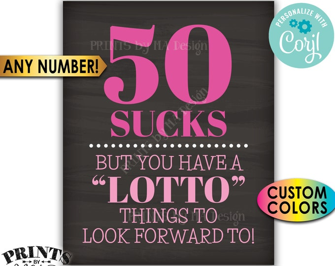 """Lottery Birthday Sign, Lotto Things to Look Forward To, Custom PRINTABLE 8x10/16x20"""" Chalkboard Style Sign <Edit Yourself with Corjl>"""