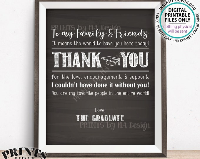 """Grad Thank You Sign, Thanks from the Graduate Thank You Card, Graduation Party Decor, PRINTABLE 8x10/16x20"""" Chalkboard Style Grad Sign <ID>"""