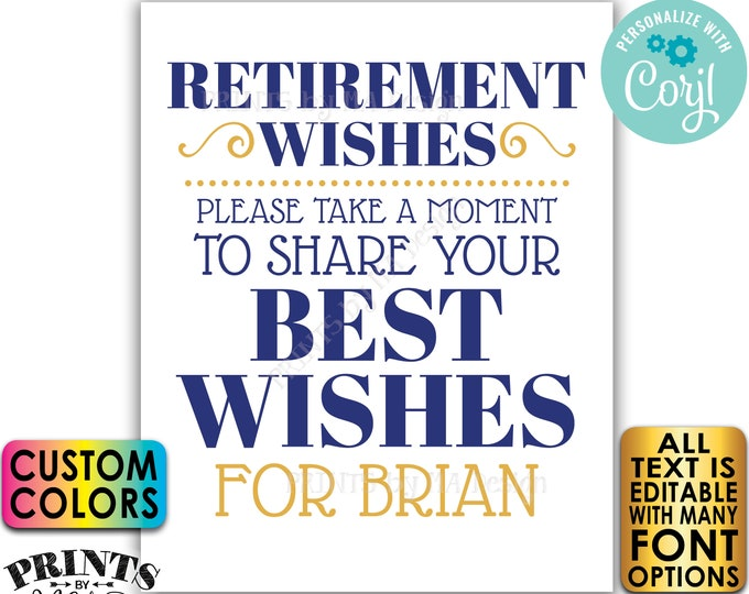 "Retirement Wishes Sign, Please Leave Your Best Wishes for the Retiree, PRINTABLE 8x10/16x20"" Retirement Party Decor <Edit Yourself w/Corjl>"