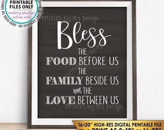 """Bless the Food Before Us The Family Beside Us the Love Between Us Kitchen Wall Decor Chalkboard Style PRINTABLE 8x10/16x20"""" Instant Download"""