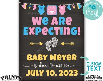 We Are Expecting Pregnancy Announcement, We're Pregnant, Custom PRINTABLE Chalkboard Style Baby Reveal Sign <Edit Yourself with Corjl>