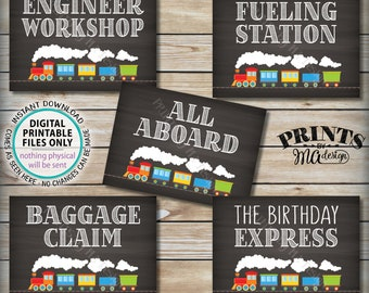 "Train Birthday Signs, Train Theme Birthday, All Aboard the Birthday Express Fueling Station Baggage, Five PRINTABLE 5x7"" Train Signs <ID>"