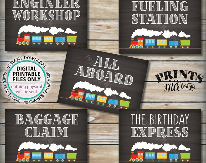 """Train Birthday Signs, Train Theme Birthday, All Aboard the Birthday Express Fueling Station Baggage, Five PRINTABLE 5x7"""" Train Signs <ID>"""