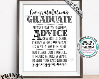 "Graduation Advice Sign, Congratulations Graduate Sign, Grad Advice, Memory, Well Wish, Note, Graduation Party, PRINTABLE 8x10"" Sign <ID>"