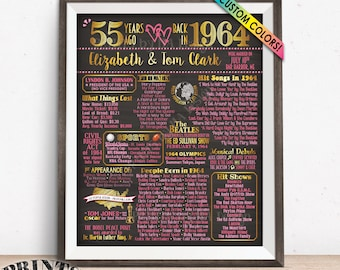 "55th Anniversary Gift Married in 1964 Anniversary, Flashback in 1964, Custom Chalkboard Style PRINTABLE 8x10/16x20"" 1964 Anniversary Poster"