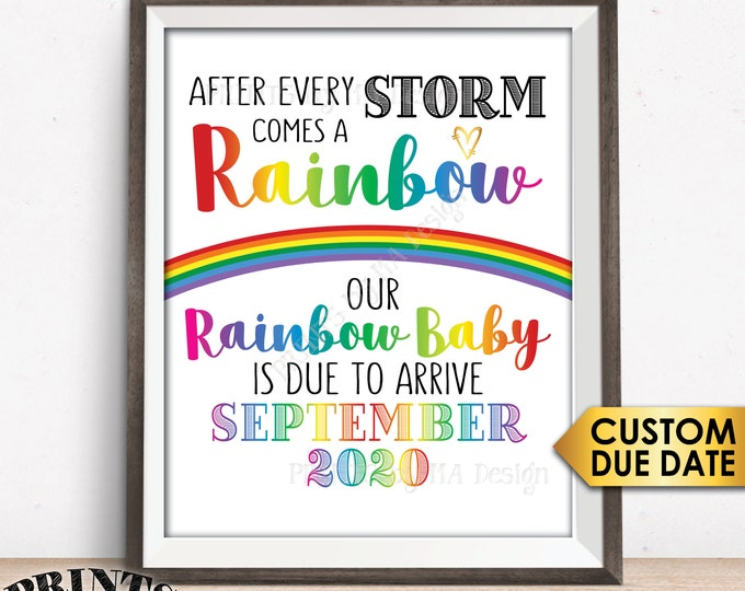 """Rainbow Baby Pregnancy Announcement, Pregnancy Reveal After Loss, We're Expecting, PRINTABLE 8x10/16x20"""" Rainbow Baby Sign"""