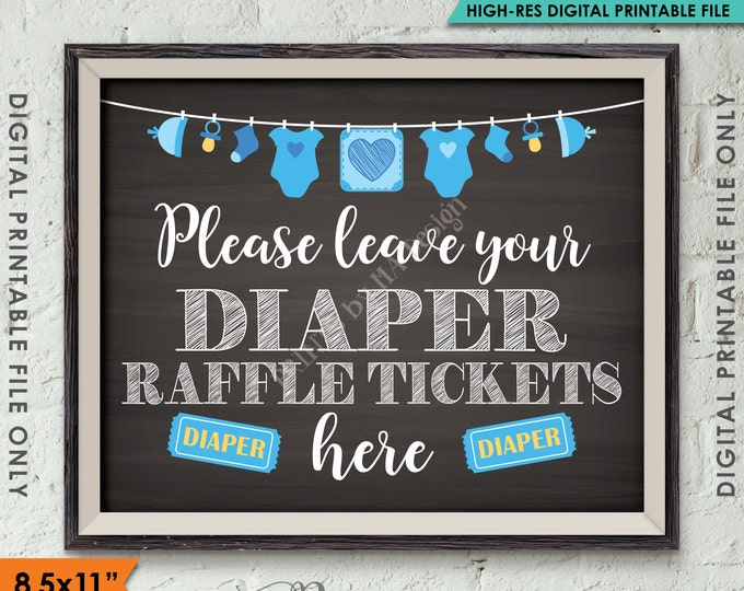 "Diaper Raffle Ticket Sign, Leave Your Ticket Here, Raffle Ticket Baby Shower Sign, Blue Clothesline, Chalkboard Style PRINTABLE 8.5x11"" <ID>"