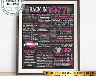 "1977 Flashback Poster, Birthday Anniversary Flashback to 1977 USA History Back in 1977, Reunion, PRINTABLE 16x20"" Sign <ID>"