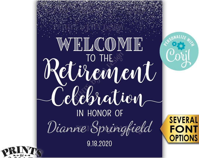 "Retirement Party Sign, Welcome to the Retirement Celebration, Navy Blue & Silver Glitter PRINTABLE 16x20"" Sign <Edit Yourself with Corjl>"