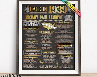 """1939 Birthday Flashback Poster, Remember 1939 Birthday Party Poster, Custom PRINTABLE 16x20"""" Back in 1939 B-day Sign"""