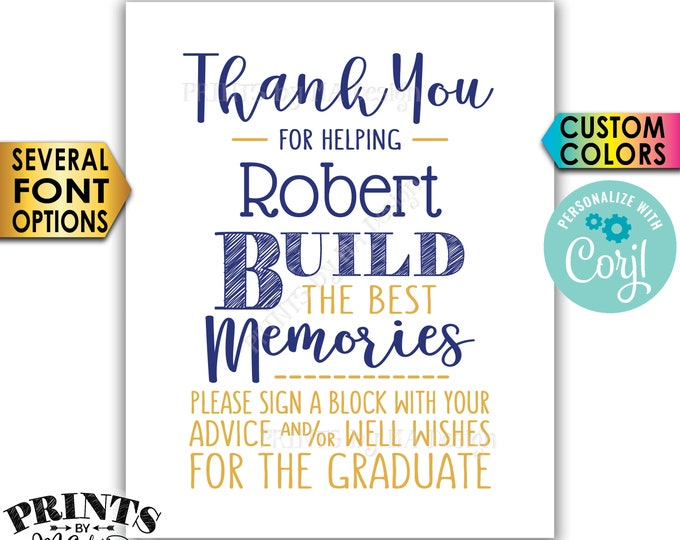 """Sign a Block Graduation Party Decoration, Thanks for Building Memories, PRINTABLE 8x10"""" Sign <Edit Yourself with Corjl>"""