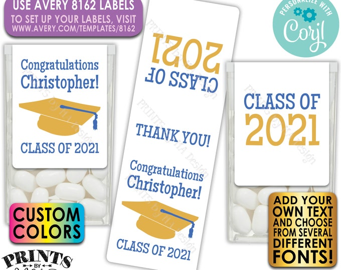 Custom Graduation Tic Tac Labels, Graduation Party Favors, Custom Text, One PRINTABLE Avery 8162 Label <Edit Yourself w/Corjl>