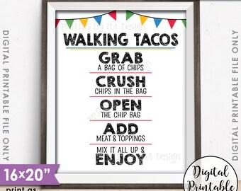 """Walking Tacos Sign, Taco Bar, Taco Sign, Fiesta Cinco de Mayo Sweet Sixteen Graduation Birthday Party, PRINTABLE 8x10/16x20"""" Tacos Sign <ID>"""