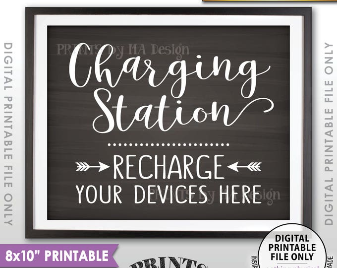 "Charging Station Sign, Recharge Your Devices Here, Wedding Charge Bar, Recharge Here, Chalkboard Style PRINTABLE 8x10"" <ID>"