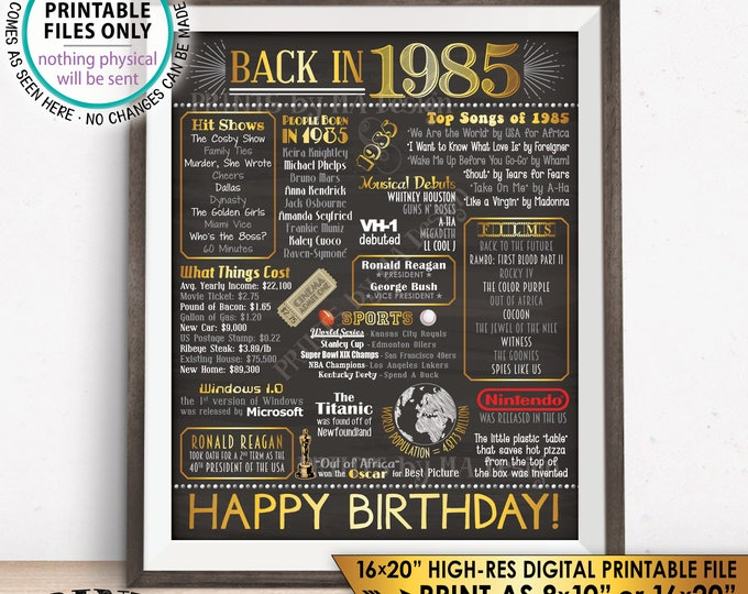 """1985 Birthday Flashback Poster, Back in 1985 Birthday Decorations, '85 B-day Gift, PRINTABLE 16x20"""" B-day Sign <ID>"""