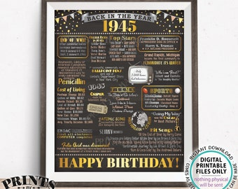 "Back in the Year 1945 Birthday Sign, Flashback to 1945 Poster Board, '45 B-day Gift, Bday Decoration, PRINTABLE 16x20"" 1945 Sign <ID>"