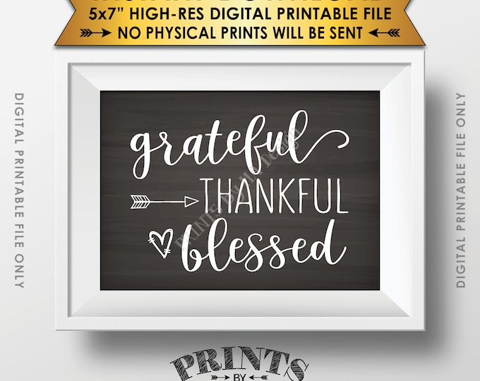 "Grateful Thankful Blessed Sign, Thanksgiving Wall Decor, Fall Decor Blessing Autumn Decor, Chalkboard Style PRINTABLE 5x7"" Instant Download"