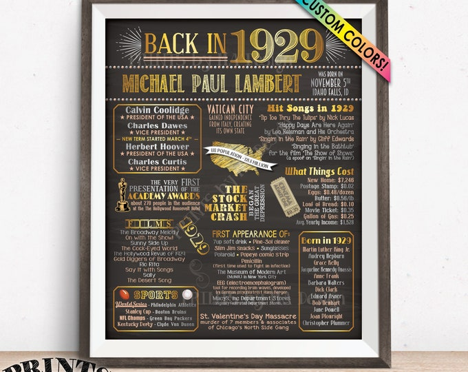 """1929 Birthday Flashback Poster, Remember 1929 Birthday Party Poster, Custom PRINTABLE 16x20"""" Back in 1929 B-day Sign"""