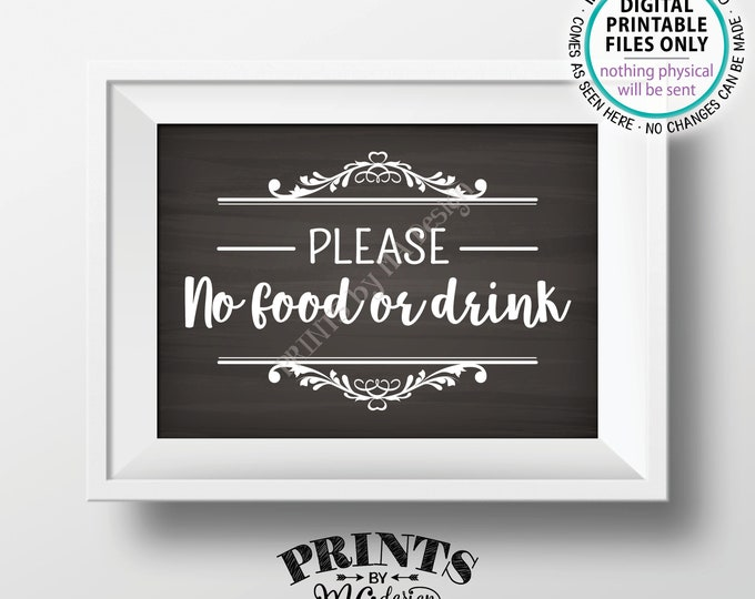 "Please No Food or Drink Sign, No Food Sign, Keep Food Out, Rules for Home Sign, House Rules, PRINTABLE 5x7"" Chalkboard Style Sign <ID>"