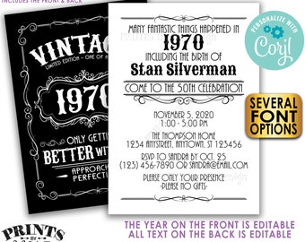 """Vintage Birthday Party Invitation, Better with Age Standard Bday Invite, Whiskey, Two PRINTABLE 5x7"""" Files <Edit Yourself with Corjl>"""