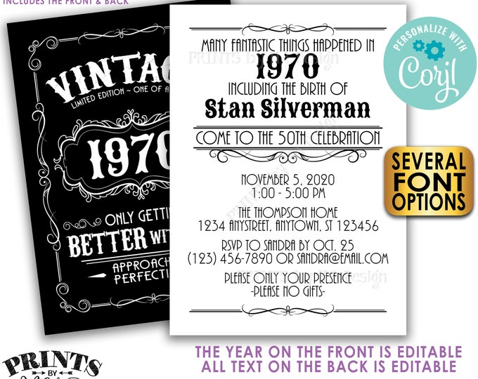 "Vintage Birthday Party Invitation, Better with Age Standard Bday Invite, Whiskey, Two PRINTABLE 5x7"" Files <Edit Yourself with Corjl>"