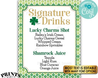 """Signature Drinks Sign, Signature Cocktails, St. Patrick's Day Party, Shamrock Menu, PRINTABLE 8x10/16x20"""" Sign <Edit Yourself with Corjl>"""