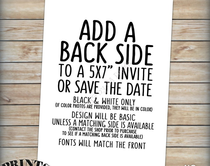 """Add a Back Side to an Invitation or Save the Date, Additional Party Information, Add a photo, map, details, etc. PRINTABLE 5x7"""" Digital File"""